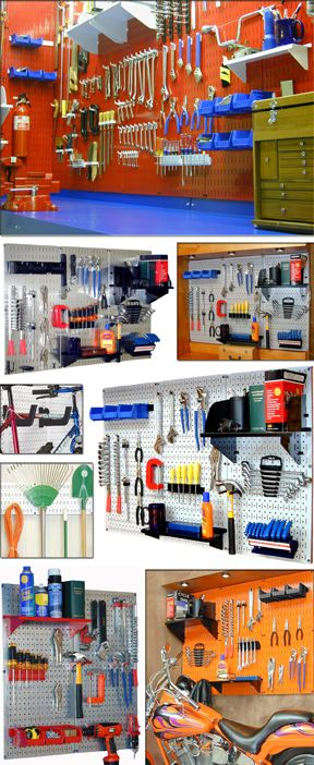 Great site for lots of storage ideas!    strong colored, powder-coated, galvanized steel pegboard and hooks to store bicycles, garden tools. Organize your garage tools snd shop tools. Steel canister holders for steel pegboard