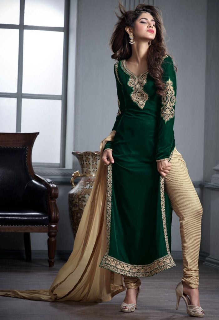 Green Designer Velvet Palazzo..@ fashionsbyindia.com #designs #indian #fashion #womens #style #cloths #fashion #stylish #casual #fashionsbyindia #punjabi #suits