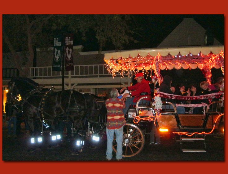 Horse-drawn carriage rides at the Old Town, Clovis Christmas Celebration Dec. 2014. They do a bang-up job, and lots of people come out for this!