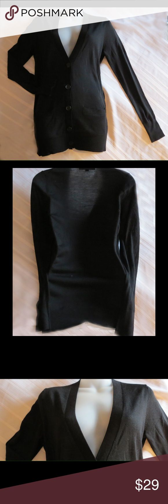 """Ann Taylor Loft Black Lightweight Cardigan Size S Ann Taylor Loft Black Lightweight Cardigan Size S  Super cute with two pockets and very lightweight and comfy.  Approx measurements  Sleeves  """"25 Chest  40""""  Length """"26  Excellent gently used condition. Color:Black Nice Lightweight sweater jacket All of my items are Guaranteed 100% Genuine I do not sell FAKES of any kind   No Trades (W2011) LOFT Jackets & Coats"""