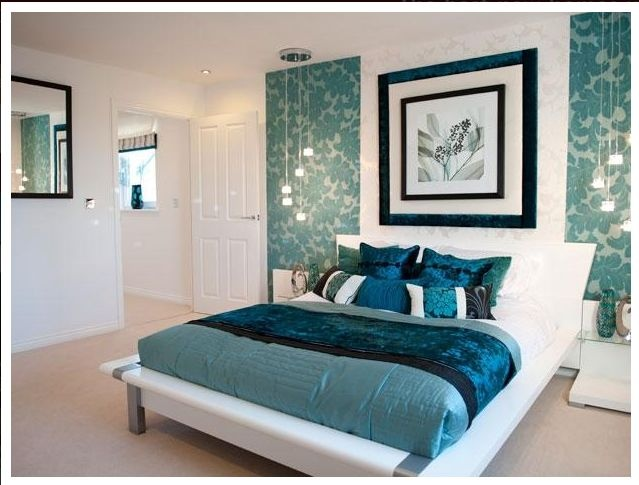 Beautiful Colours In This Bedroom With Navy Blue Aqua And Turquoise Also Like The Panels On