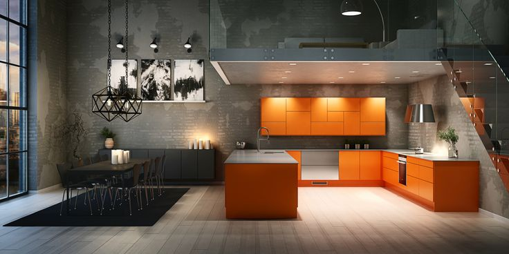 Sigdal Kj?kken modell Uno, malt i oransje! Kitchen. Kj?kken. Sigdal ...