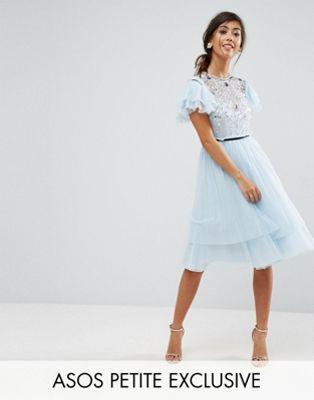 ASOS Petite   ASOS PETITE Pretty Embellished Tulle Midi Dress