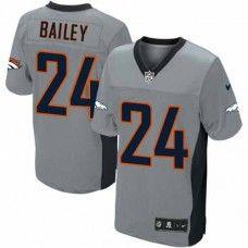 Nike Elite Mens Denver Broncos http://#24 Champ Bailey Shadow Grey NFL Jersey$129.99