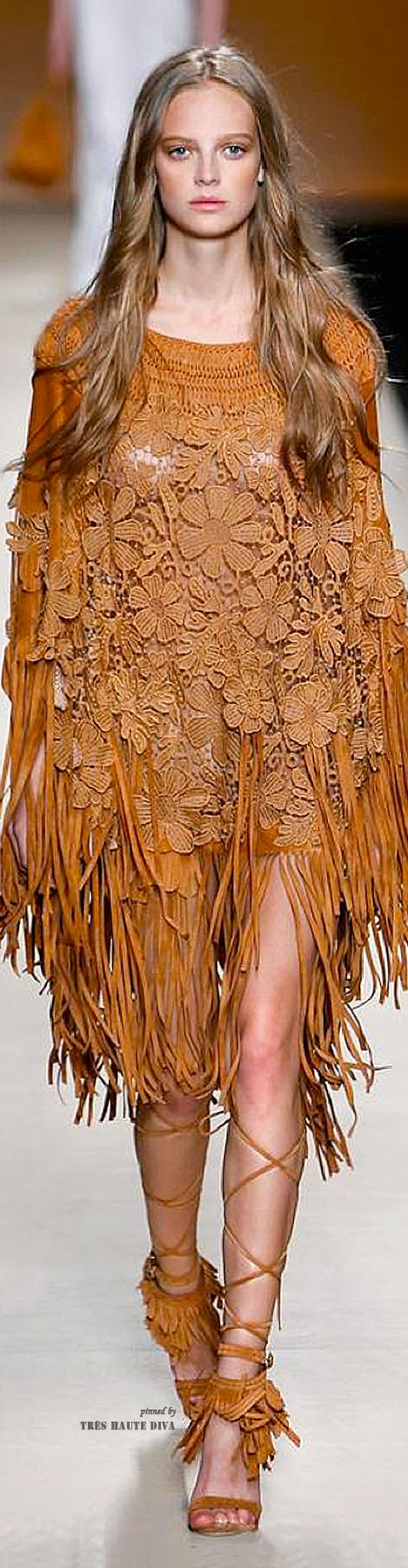 Alberta Ferretti flowers & fringe native tribal hippie bohemian fantasy fashion #UNIQUE_WOMENS_FASHION