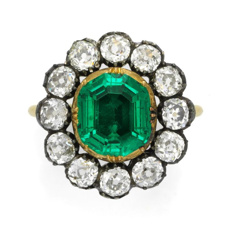 Antique emerald and diamond ring, circa 1830