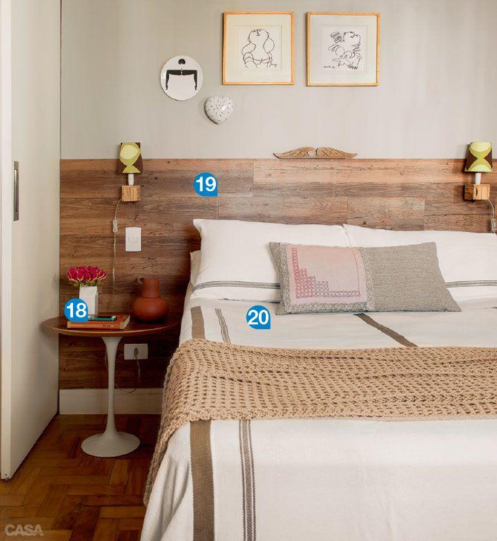 piso vinílico na parede (cabeceira de cama de casal)
