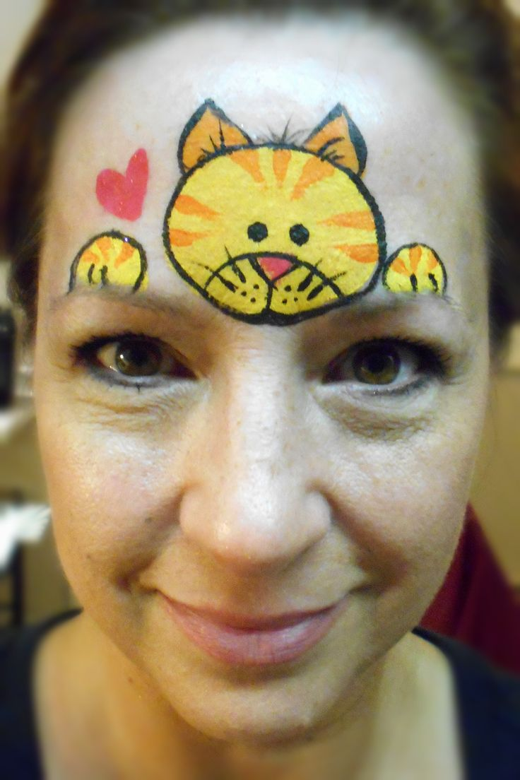 Yellow/Orange Kitty- Smiley Faces by Jo