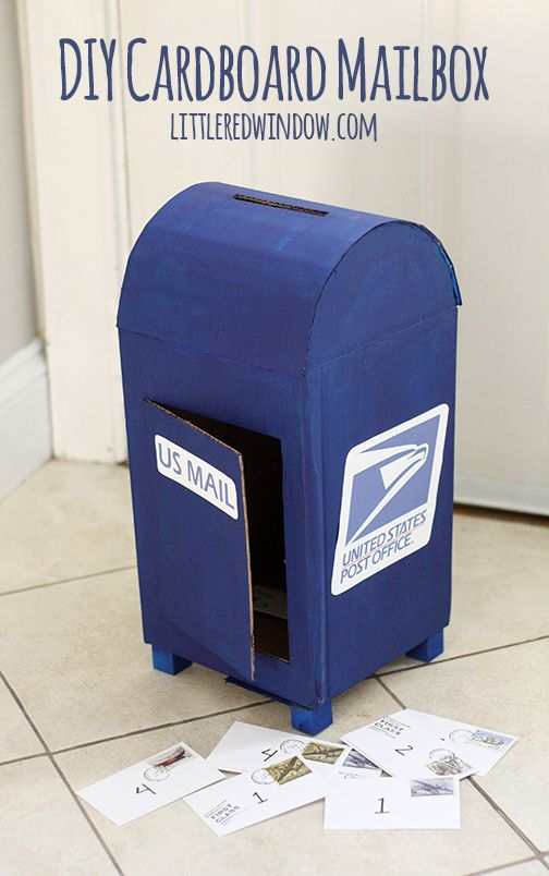 DIY Cardboard Play Mailbox | littleredwindow.com Create a mailbox for residents to send one another notes of appreciation!