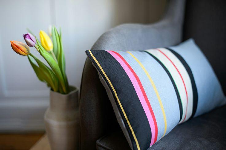 Rye Stripe Cushion, Laura Fletcher Textiles. Woven in the UK.