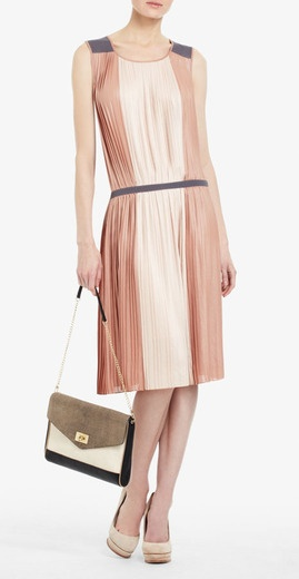 Sofi Pleated Color-blocked Dress  $268.00  Available at: BCBGMaxazria