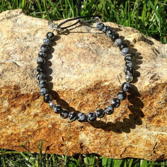 Snowflake Obsidian Stacking Bracelet by AppleBlossomJewel on Etsy
