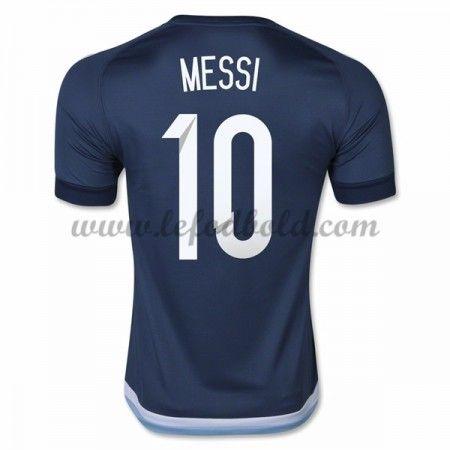 Billige Fodboldtrøjer Argentina 2016 Landsholdstrøjer Lionel Messi 10 Kortærmet Udebanetrøje