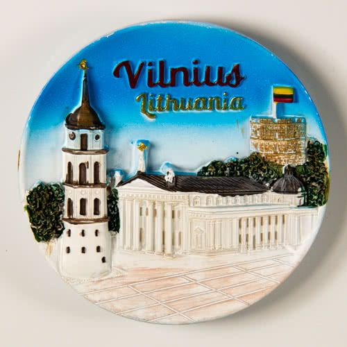 Resin Fridge Magnet: Lithuania. Vilnius. Vilnius Cathedral and Gediminas Tower View (Plate Shaped)