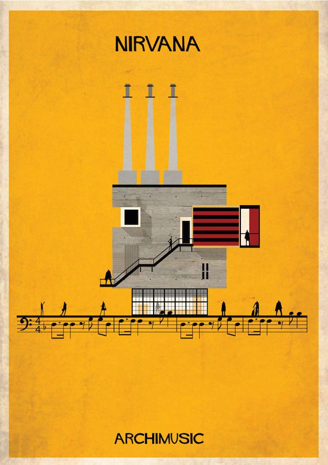 Archimusic Posters – Fubiz™ | NIRVANA #art #music #architecture