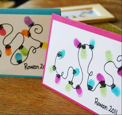 Easy DIY Holiday Crafts - Thumb Print Lights - Click pic for 25 Handmade Christmas Cards Ideas for Kids