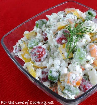 """""""Farmer's salad..."""" cottage cheese and a bunch of veggies and spice! Good for upcoming warm weather."""