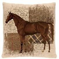 Downtown Hunt Club Horse Pillow- A neutral pillow that provides a little country rustic look but with an elegant warm equestrian flair,  100% polyester, machine washable, cold cycle, lay flat or hang to dry.  Part of the Downtown Hunt Club collection, imported from the USA, please be advised that pricing may vary on this product, limited quantities are available.  Colour: Neutral  Size: 18″ x 18″
