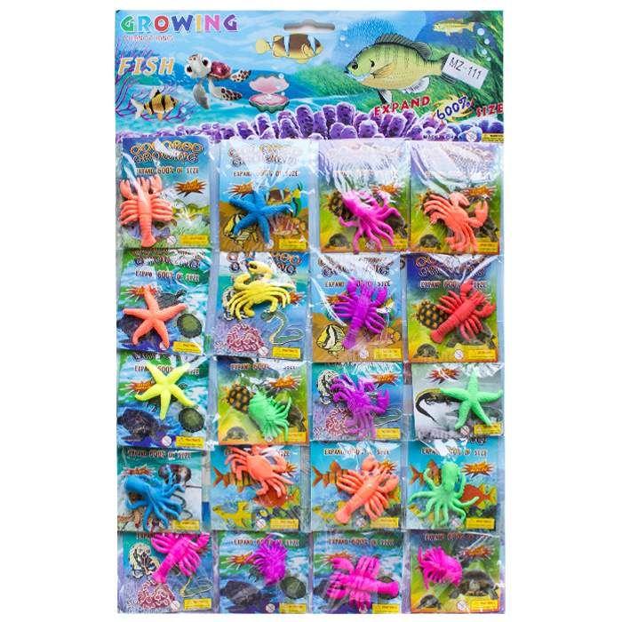 Гидрогель «Морские животные». Цвета и формы в ассортименте - морские животные: дельфины, крабы, осьминог, рыбка, конек, рак и т.д. Чтобы вырастить фигурку просто поместите ее в воду на 2-3 дня! Увеличивается в пять раз. Идеально подойдет для игр детям, ведь им так важны новые тактильные ощущения.