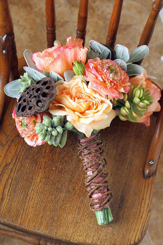 Succulent Coral Peach And Sage Rustic Wedding Bouquet