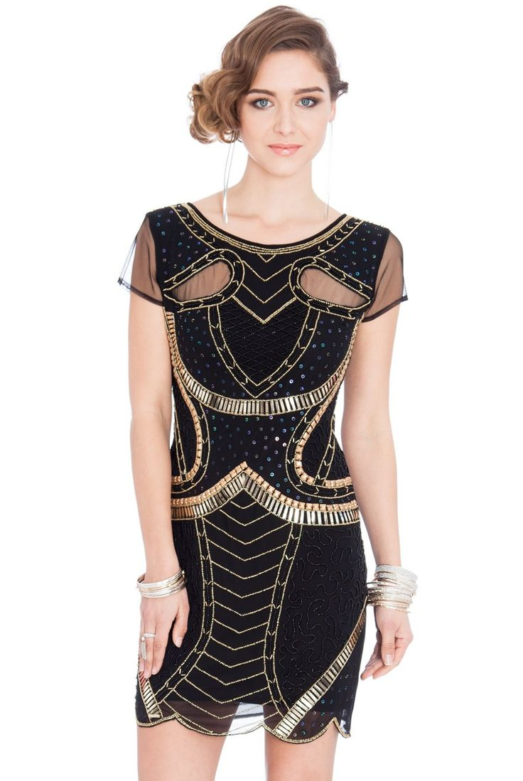 Embellished Mesh Short Sleeved Flapper Mini Dress - Black - Front - DR314