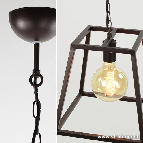 Lantaarn hanglamp landelijk bruin frame - www.straluma.nl