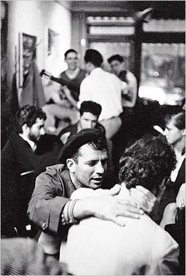 jack kerouac in a beret at 7 arts café in greenwich village, 1959...
