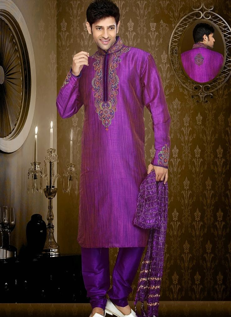 Stunning purple art dupion silk readymade sherwani is designed with cut dana and stone work. Comes with matchnig dupatta shown as photography purpose. (Slight colour variation is possible.)...