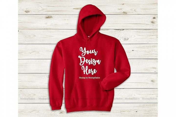 Download Red Hoodie Mockup Gildan 18500 Mock Up Flat Lay 411688 Clothing Design Bundles Hoodie Mockup Red Hoodie Hoodies