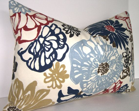 Floral Lumbar Pillow Cover 12x18 inches - Red - Navy - Blue - Brown - Taupe - Ivory