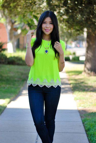 Neon Yellow Shirt, Level 99 High Waist Jeans