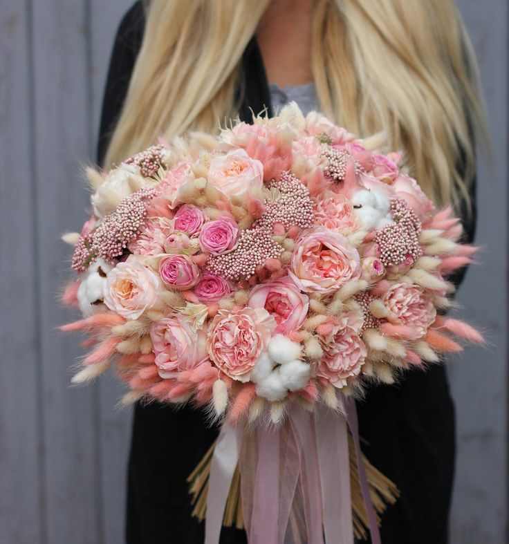 Букет-гигант из сухоцветов и живых цветов