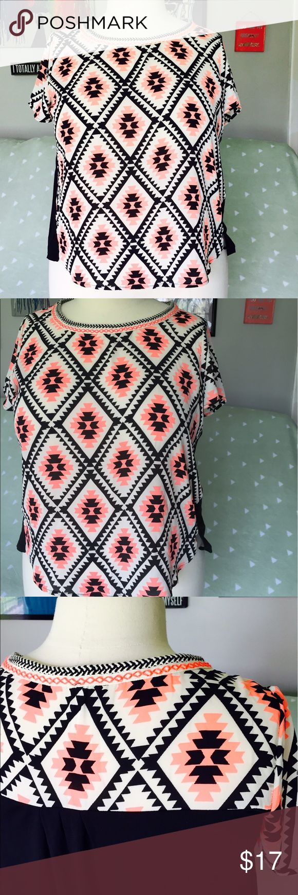 Neon Coral Aztec Top Gorgeous colors and pattern & in great shape. Xhilaration Tops Blouses