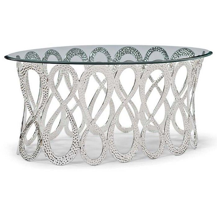 Regina Andrew Infinity Oval Cocktail Table-Polished Nickel 27.75L x 42.25W x 18.5H Retail Price:$1,725.30