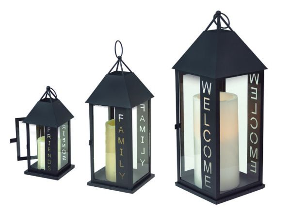 Metal Glass Yard Patio Candle Holder Lanterns Set 3 Welcome Family .