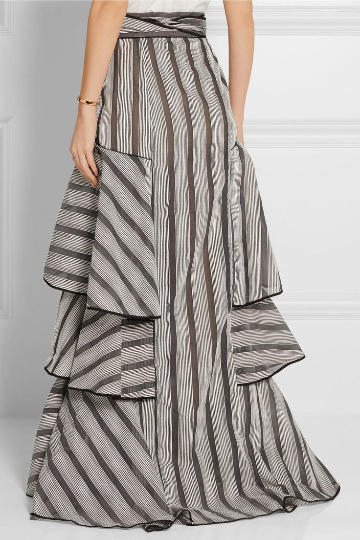 Johanna Ortiz   Gabo ruffled striped organza maxi skirt   NET-A-PORTER.COM