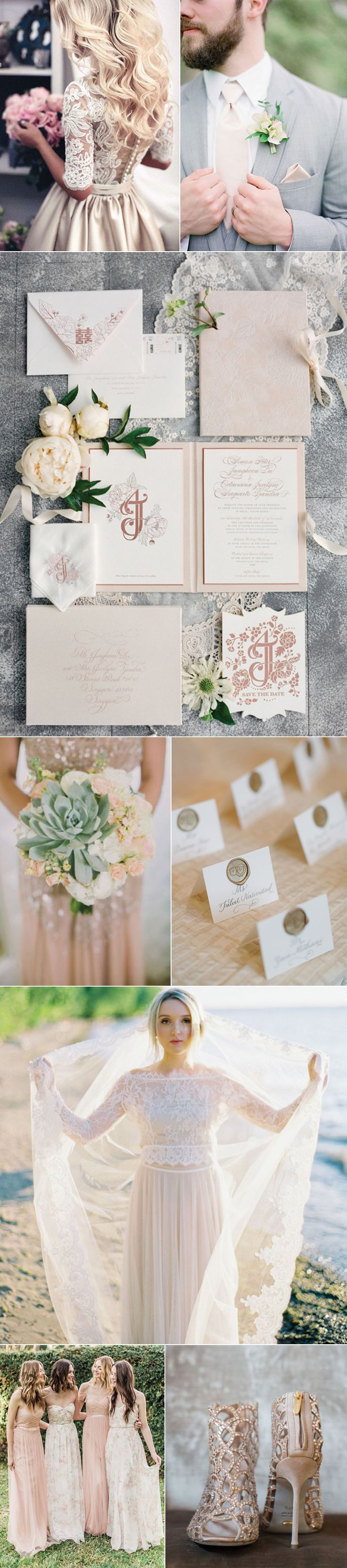 There's no other color combination that can out romance champagne + blush. Here's an inspirational snapshot of the possibilities ranging from patterned floral bridesmaid dresses to glamorous wedding shoes to metallic champagne wedding gowns