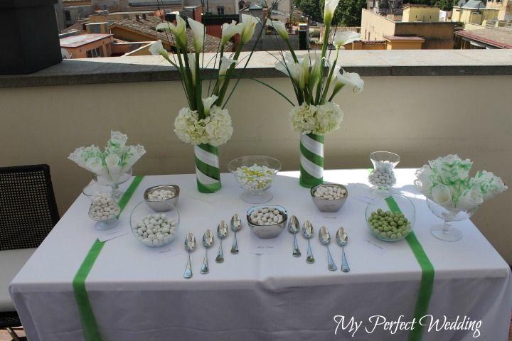Confettata bianco e verde con le calle Calla wedding decor