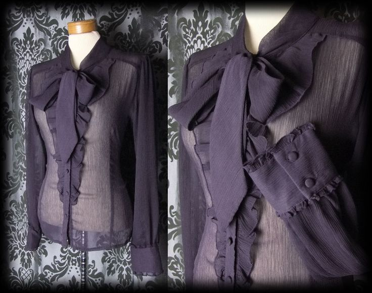 Gothic Purple Sheer Fitted GOVERNESS Pussy Bow Blouse 12 14 Victorian Vintage - £29.00