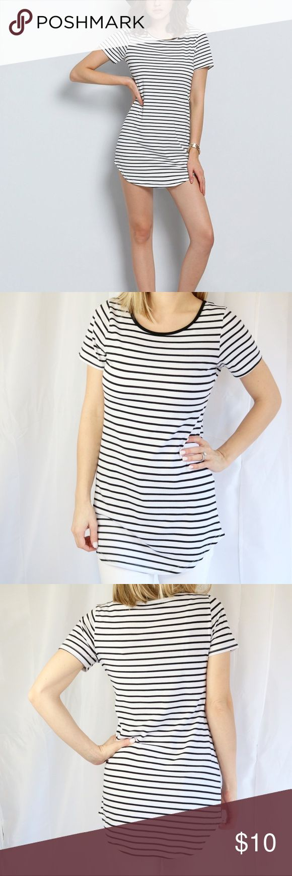 Striped Long Tee Dress Striped long tee dress Size Small Black and white Crew neck  ▪️Measurements in photos  ▪️Materials/care in photos  💜My home is smoke/pet free ROMWE Tops Tees - Short Sleeve