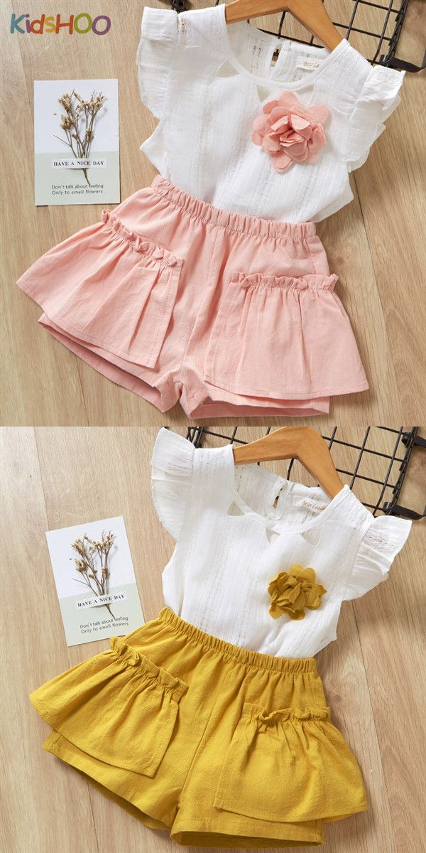 Baby Girls Clothes Young Wild Three Sleeveless Ruffle Top Printed T-Shirt Tutu Skirt Outfit Set