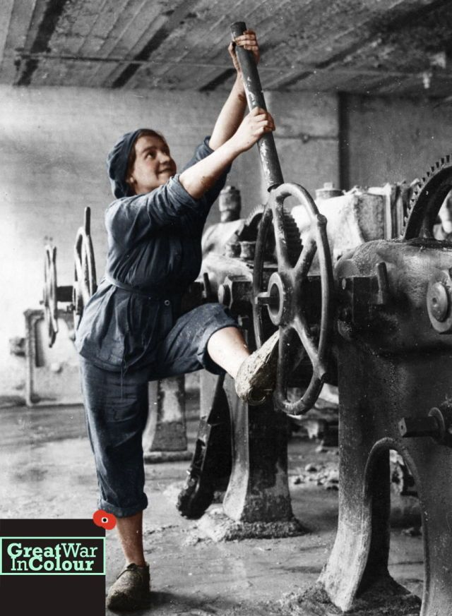 Portrait of a woman on the home front working in a factory in Lancashire, UK. September, 1918.