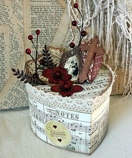 Pretty box...Music paper and lace gives it an impression of Shabby Chic or maybe Vintage.