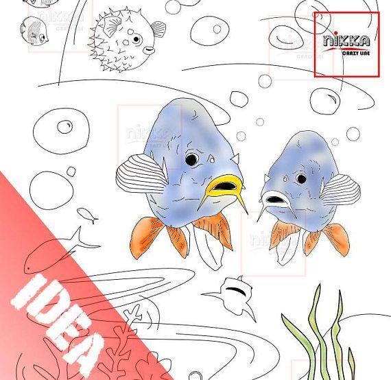 Pagina da colorare per adulti e bambini  disegno da colorare - Adult and kids coloring page - sea life printable - Digital Download - PDF download - A4