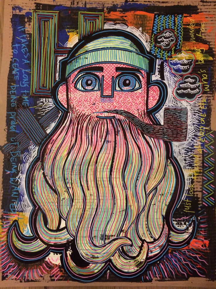 Artwork made on cardboard. Mixed media. Cartoon, comic, colorful, graffiti, streetart, street, tags, clash of style. Bearded man