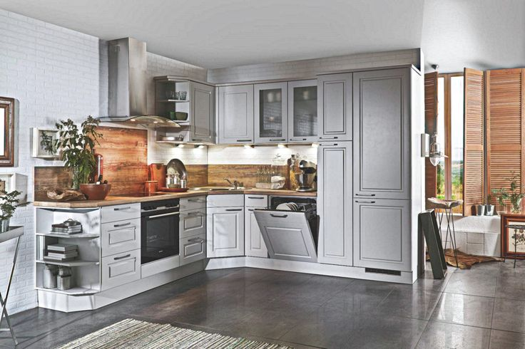 Landhaus L Küche Grau Arizona Pine