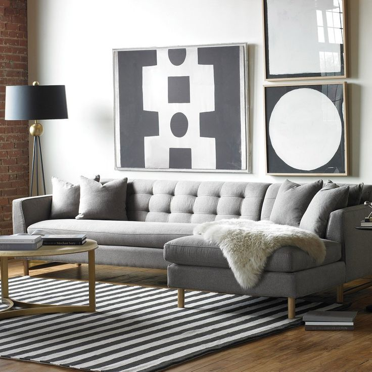 Contemporary Living Room Design With Edward L Shaped Sectional Gray Upholstered Sofa And Gold Coffee Table Also Black White Stripped Rug Decor Ideas Great