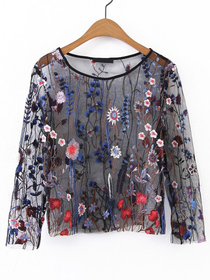 Shop Long Sleeve Embroidery Mesh Top online. SheIn offers Long Sleeve Embroidery Mesh Top & more to fit your fashionable needs.