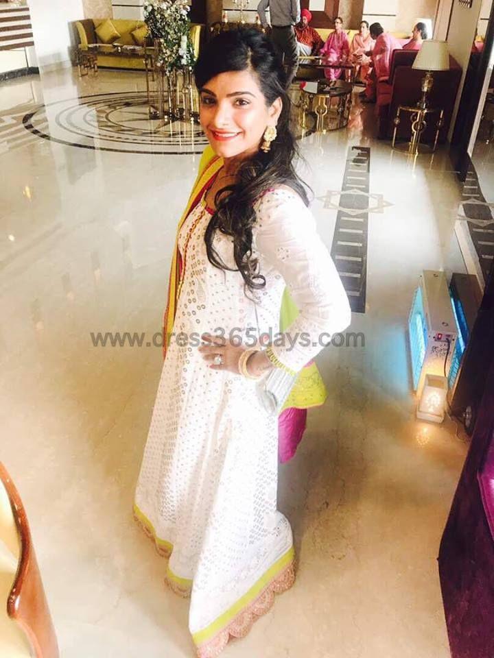 Happy Customer of Dress365days and Wife of Indian Cricketer Umesh Yadav, Wearing designer Chikankari Anarkali with Mukaish work.