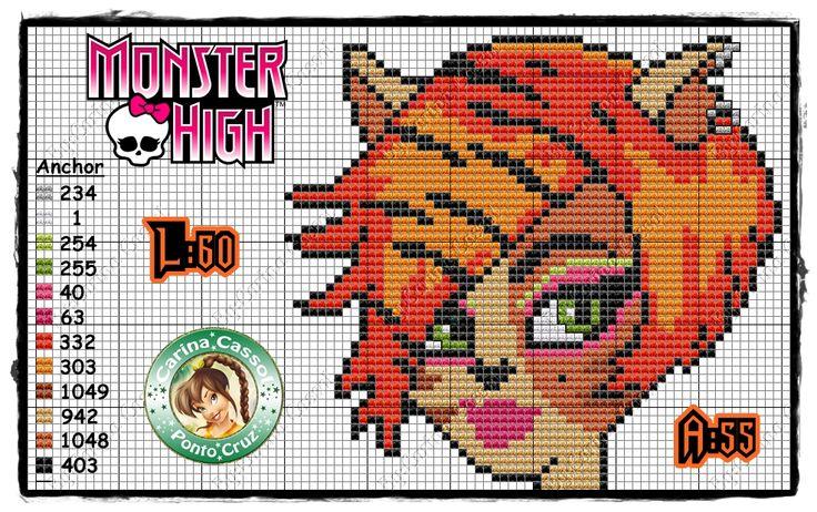 Toralei Stripe - Monster High perler bead pattern by Carina Cassol -
